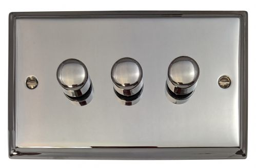 G&H DC13 Deco Plate Polished Chrome 3 Gang 1 or 2 Way 40-400W Dimmer Switch